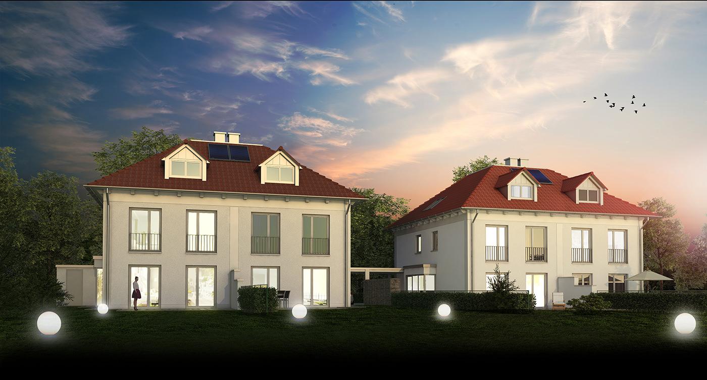 Architekturvisualisierung zweier Doppelhausvillen für die Meister Wohnbau GmbH & Co. KG